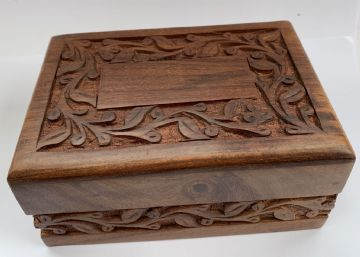 "Wooden  6x4"" CARVED Floral with SLIDING LID Ash Memory Keepsake Box"